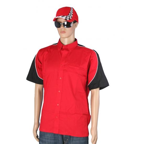 Rood race overhemd inclusief race cap maat L