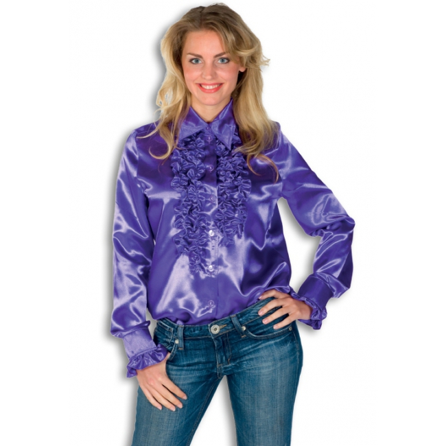 Rouches shirt voor dames paars