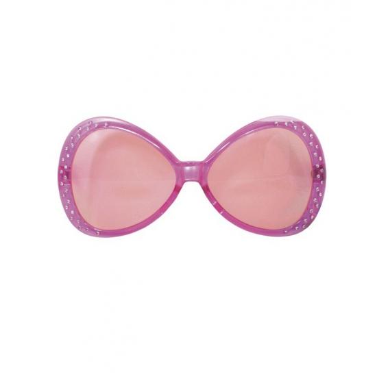 Roze carnavals bril met diamant