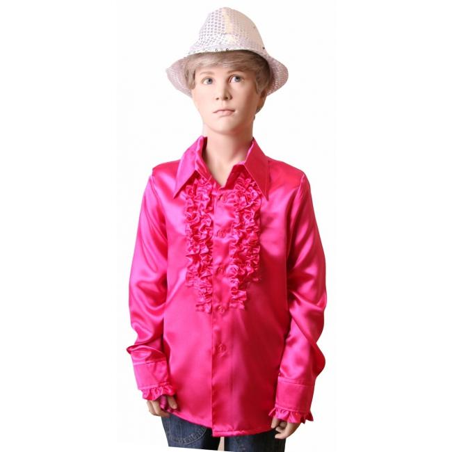 Roze disco blouse Rouches blouse roze voor jongens