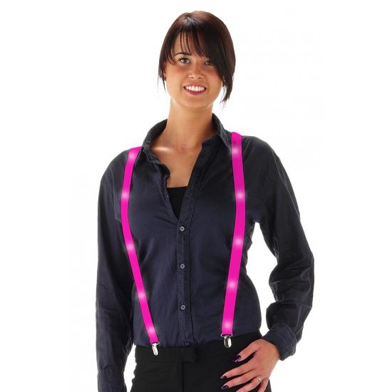 Roze feest bretels met LED lichtjes