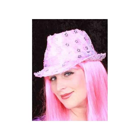Roze gangster hoedje voor volwassenen