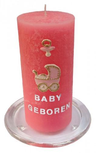 Roze geboortekaars zelfmaakset met figuren 15 cm