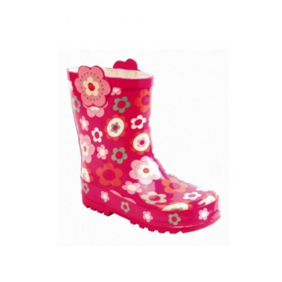 Roze meisjes laarzen met bloemetjes
