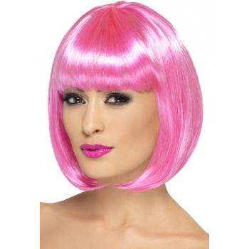 Roze pruik met bob en pony