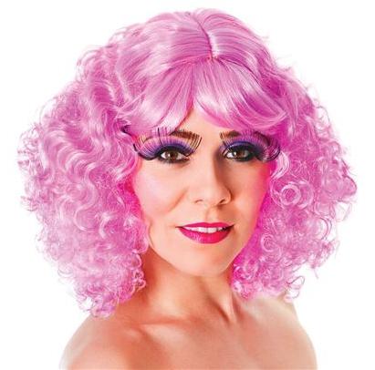 Roze pruik met pony en krullen