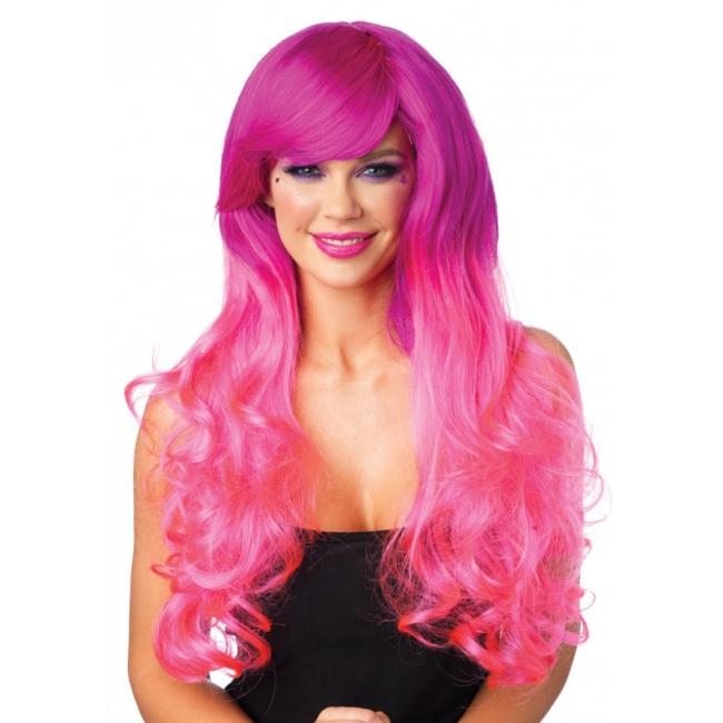 Roze pruik tweekleurig met krullen