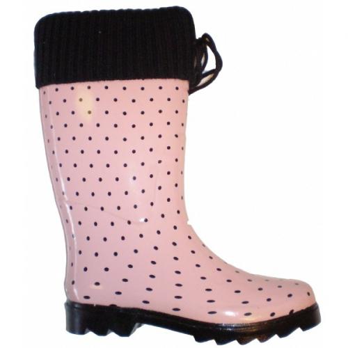 Roze regenlaars gevoerd
