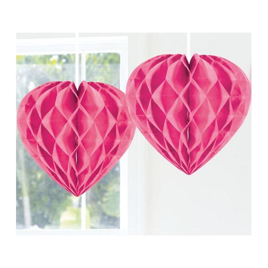Roze versiering hart 30 cm