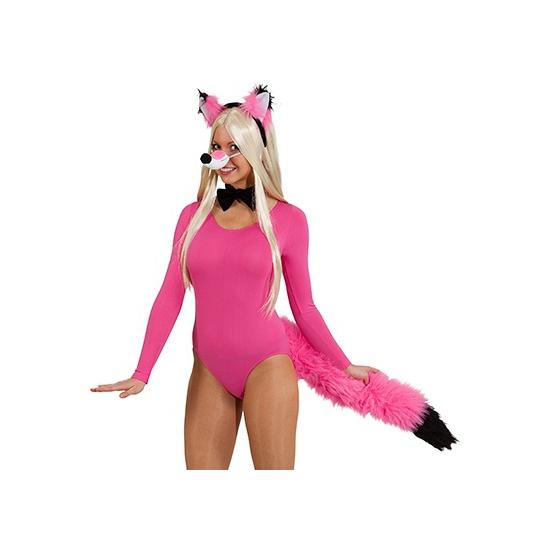 Roze vossenstaart verkleedset