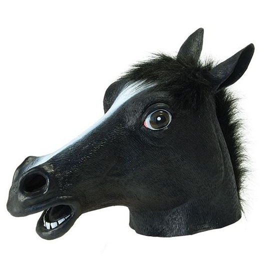 Rubber masker zwarte paarden kop