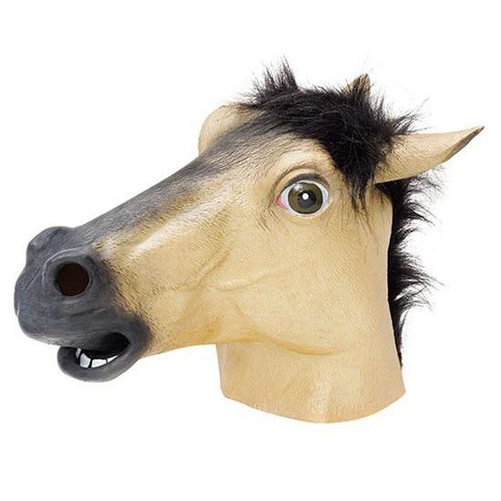 Rubberen paarden maskers beige