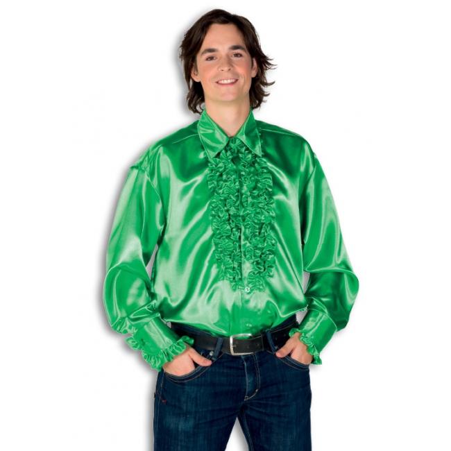 Satijnen overhemd groen heren