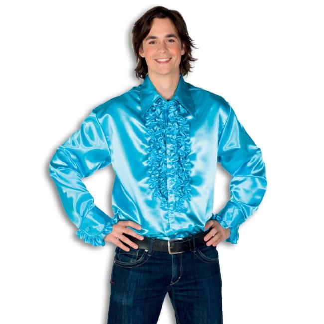 Satijnen overhemd turquoise heren