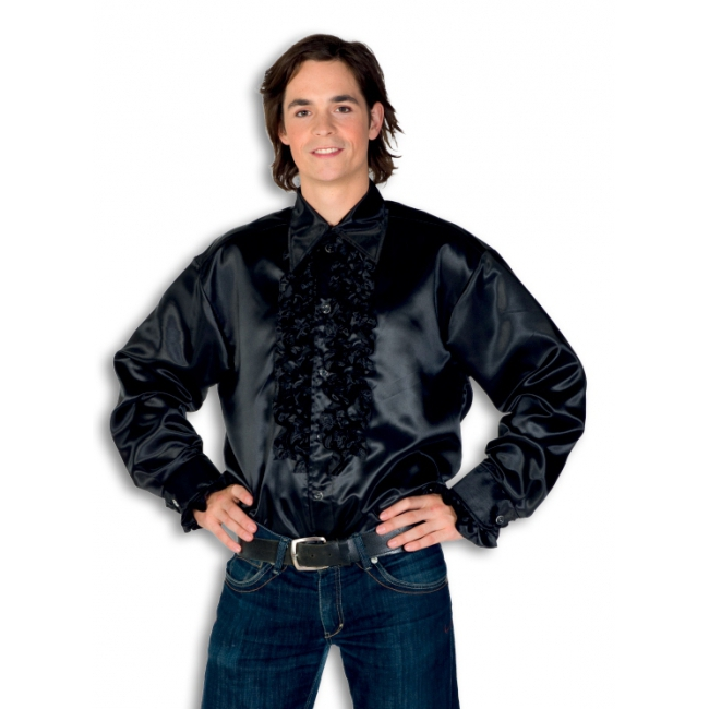 Satijnen overhemd zwart heren
