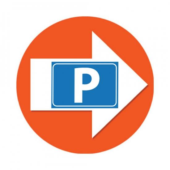 Set met oranje pijl en P logo stickers