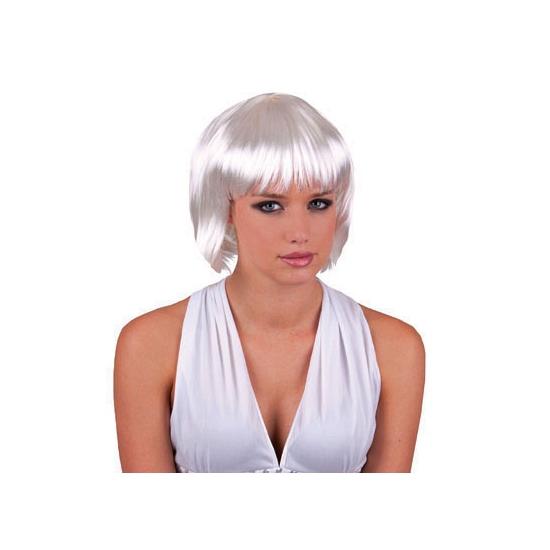 Sexy witte damespruik met kort haar
