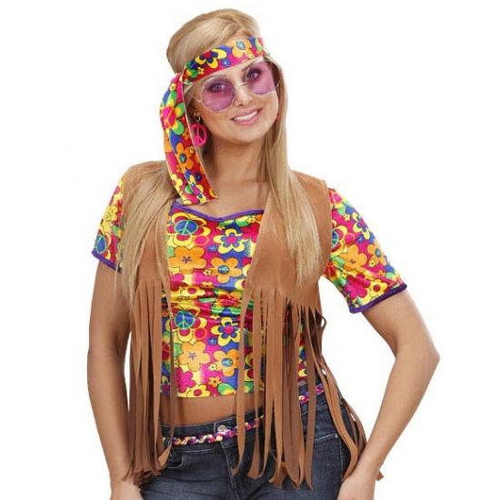 Sixties fransje vestje met hoofdband voor dames
