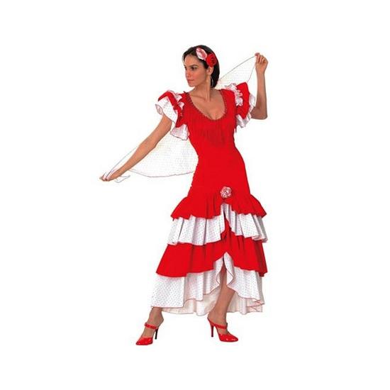 Spaanse Flamenco jurk rood/wit
