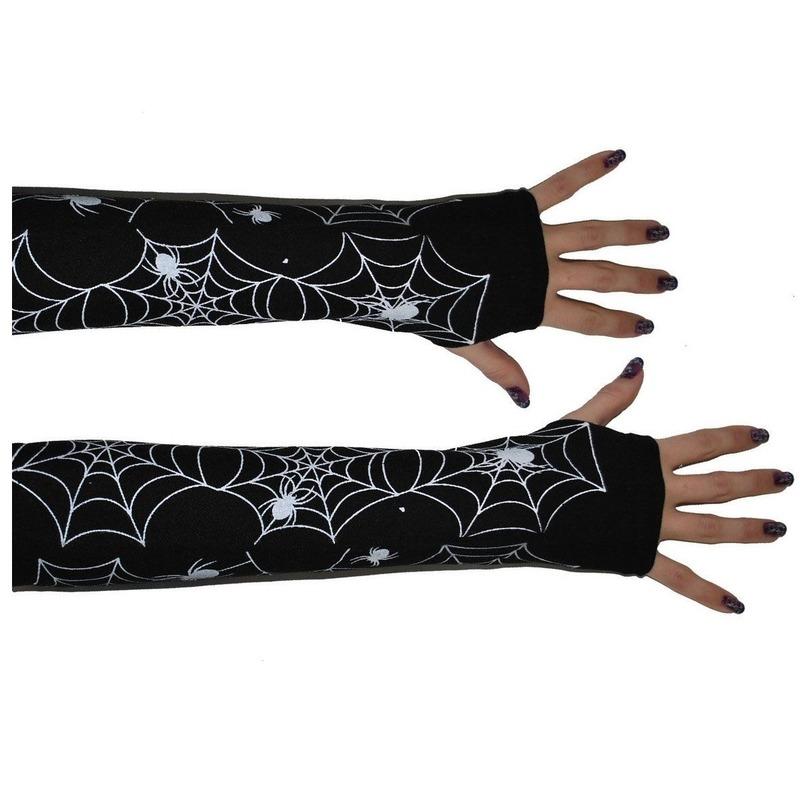 Spinnenweb handschoenen zwart
