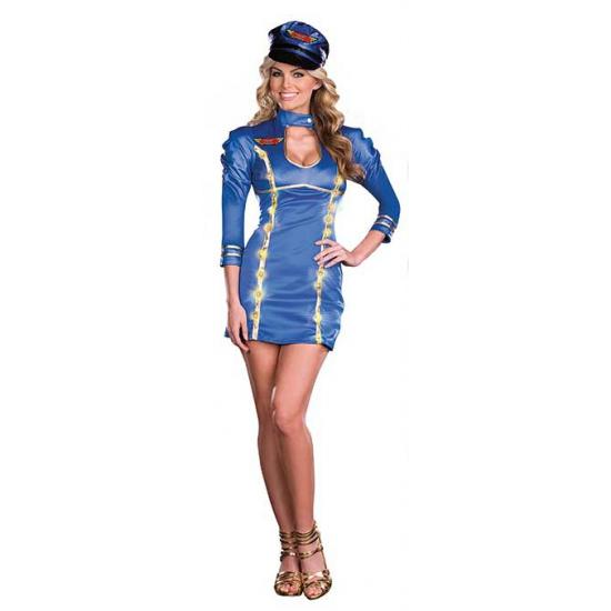 Stewardess outfit met licht voor dames