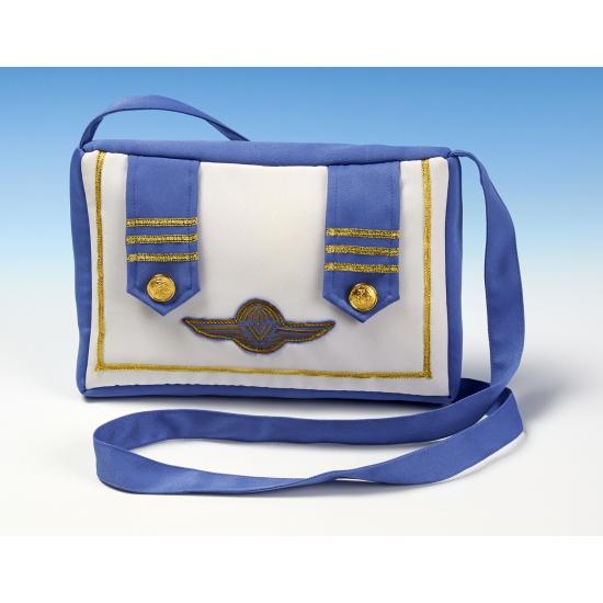 Stewardess tasje blauw met wit
