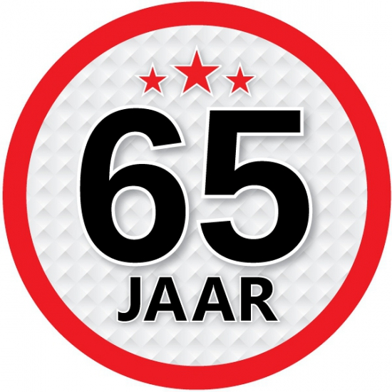 Stopbord sticker 65 jaar