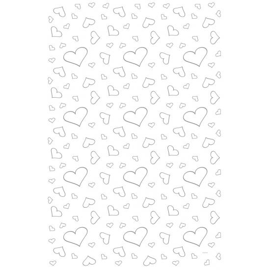 Tapijt loper wit met zilveren hartjes 4 5 x 60 cm