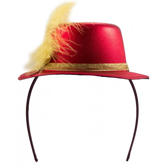 Tiara hoedje rood met geel