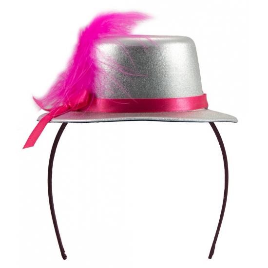 Tiara hoedje zilver met roze