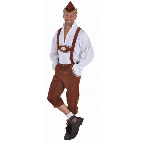 Tiroler kostuum lederhosen bruin