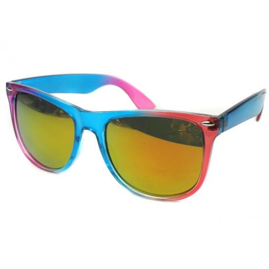 Trendy zonnebril blauw met roze