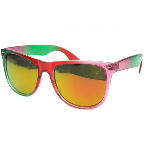 Trendy zonnebril groen met roze
