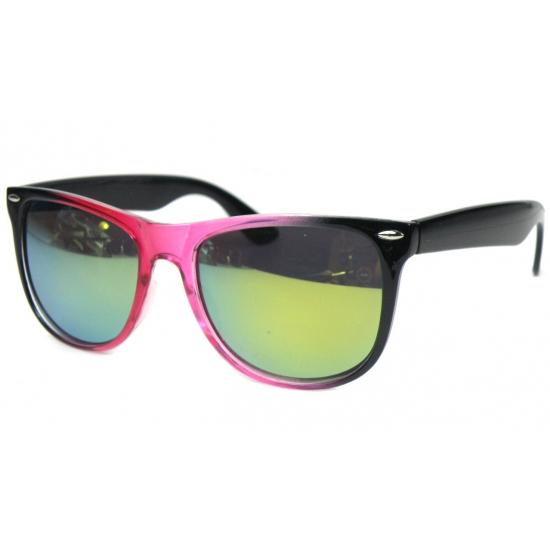 Trendy zonnebril zwart met roze