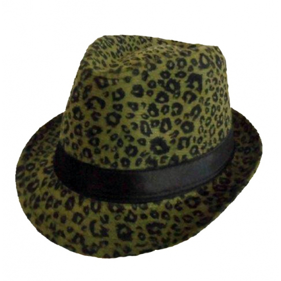 Trilby hoedje met donkergroene panter print