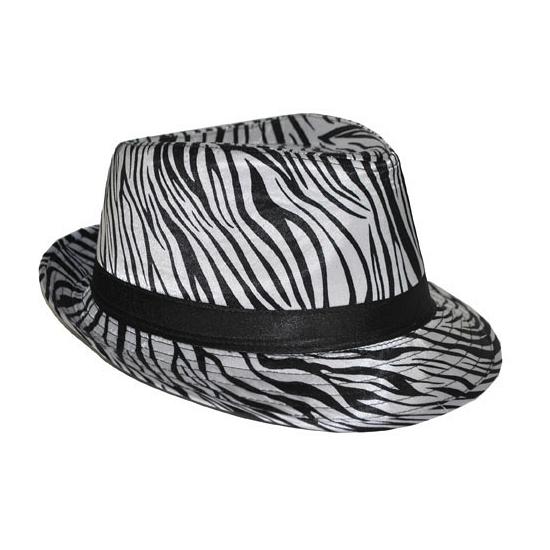 Trilby hoedje met zebra print