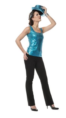 Turquoise glitter top voor dames