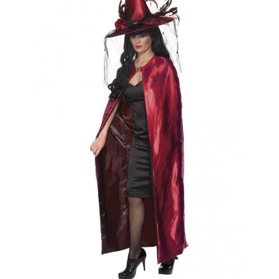 Tweezijdige lange cape rood