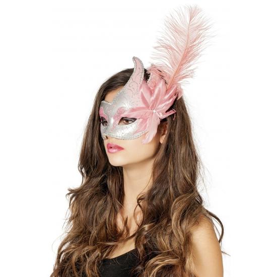Venetiaans oogmasker roze/zilver met veer