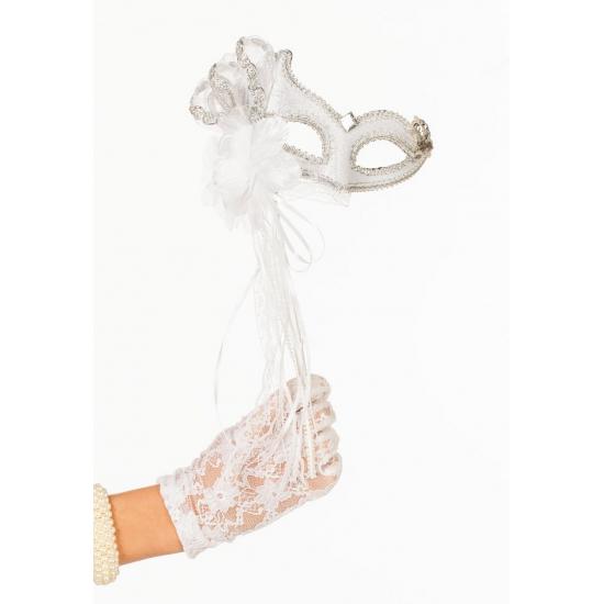 Venetiaans oogmasker wit/zilver op stok