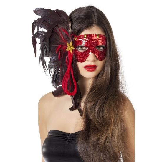 Venetiaans veren oogmasker met rode pailletten