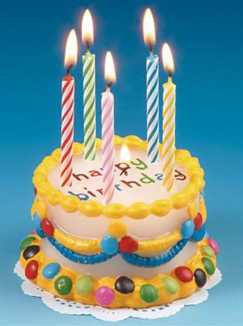 Verjaardags kaars in taart vorm 8 cm