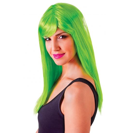 Verkleed damespruik neon groen met pony