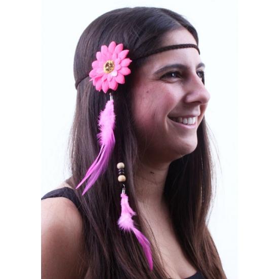 Verkleed hoofdband met roze bloem en veren
