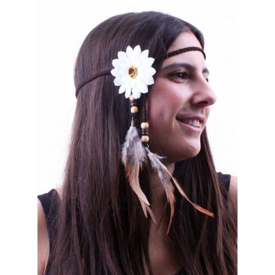 Verkleed hoofdband met witte bloem en veren