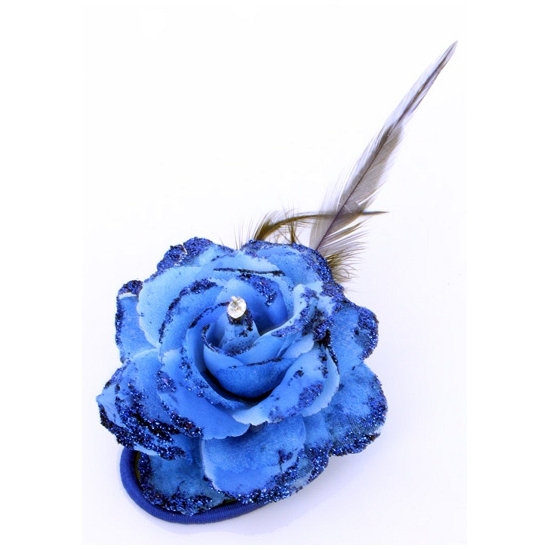 Verkleedaccessoires blauwe glitter bloem