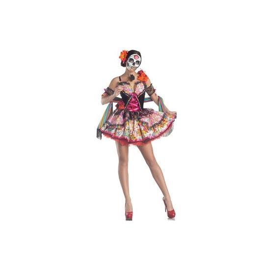 Verkleedkostuum Day of the Dead dames jurk