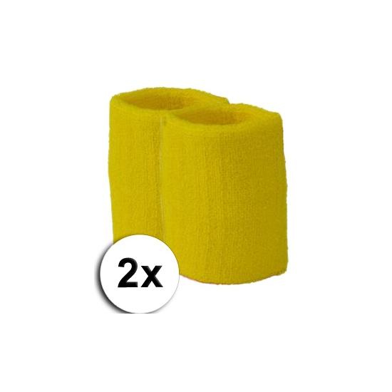 Voordelige zweetbandjes geel 2 stuks
