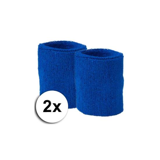 Voordelige zweetbandjes kobalt 2 stuks