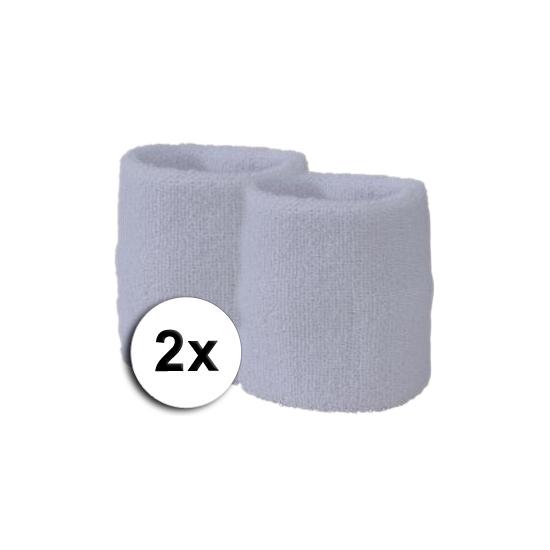 Voordelige zweetbandjes wit 2 stuks